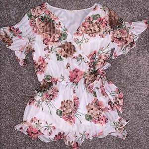 White and pink floral Entro romper